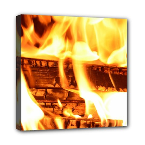 Fire Flame Wood Fire Brand Mini Canvas 8  X 8