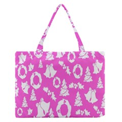 Pink Christmas Background Medium Zipper Tote Bag by Nexatart