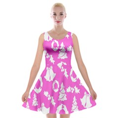 Pink Christmas Background Velvet Skater Dress by Nexatart