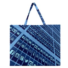 Mobile Phone Smartphone App Zipper Large Tote Bag by Nexatart