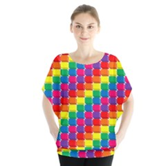 Rainbow 3d Cubes Red Orange Blouse by Nexatart