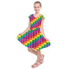 Rainbow 3d Cubes Red Orange Kids  Short Sleeve Dress by Nexatart