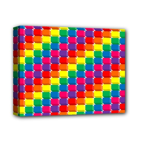 Rainbow 3d Cubes Red Orange Deluxe Canvas 14  X 11
