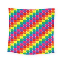 Rainbow 3d Cubes Red Orange Square Tapestry (small) by Nexatart