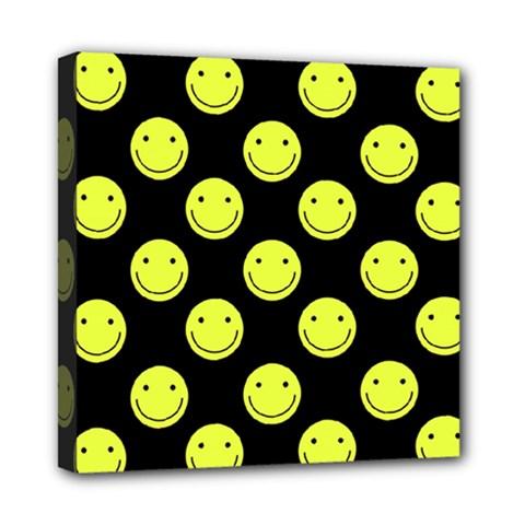 Happy Face Pattern Mini Canvas 8  X 8