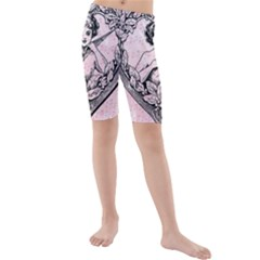 Heart Drawing Angel Vintage Kids  Mid Length Swim Shorts by Nexatart