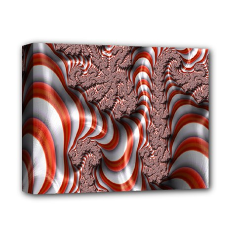 Fractal Abstract Red White Stripes Deluxe Canvas 14  X 11  by Nexatart