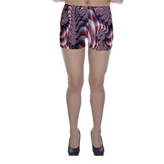 Fractal Abstract Red White Stripes Skinny Shorts