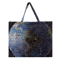 World Mosaic Zipper Large Tote Bag by Nexatart
