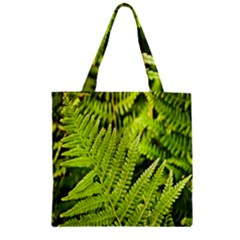 Fern Nature Green Plant Zipper Grocery Tote Bag by Nexatart