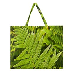 Fern Nature Green Plant Zipper Large Tote Bag by Nexatart