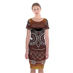 Owl Abstract Funny Pattern Classic Short Sleeve Midi Dress by Nexatart