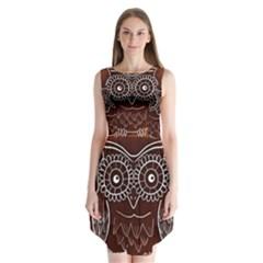 Owl Abstract Funny Pattern Sleeveless Chiffon Dress   by Nexatart