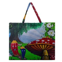 Kindergarten Painting Wall Colorful Zipper Large Tote Bag by Nexatart