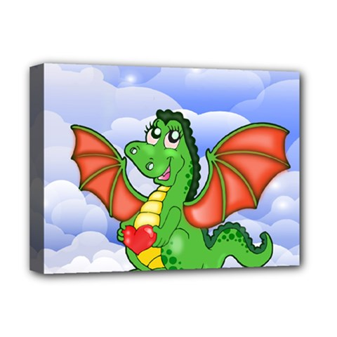 Dragon Heart Kids Love Cute Deluxe Canvas 16  X 12   by Nexatart