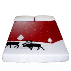 Reindeer In Snow Fitted Sheet (Queen Size)