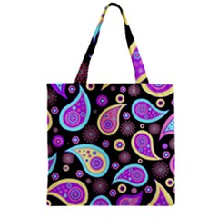 Paisley Pattern Background Colorful Zipper Grocery Tote Bag