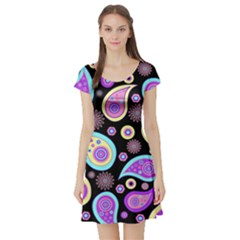 Paisley Pattern Background Colorful Short Sleeve Skater Dress