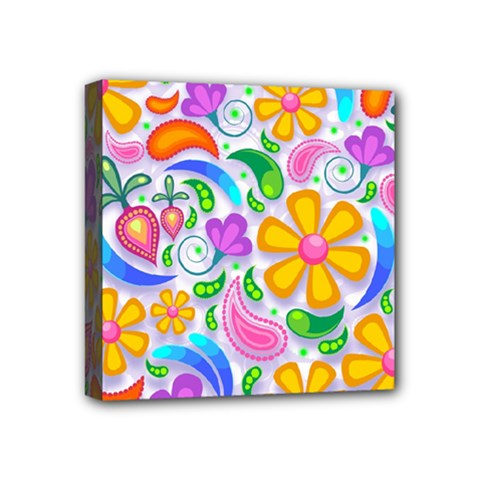 Floral Paisley Background Flower Mini Canvas 4  X 4