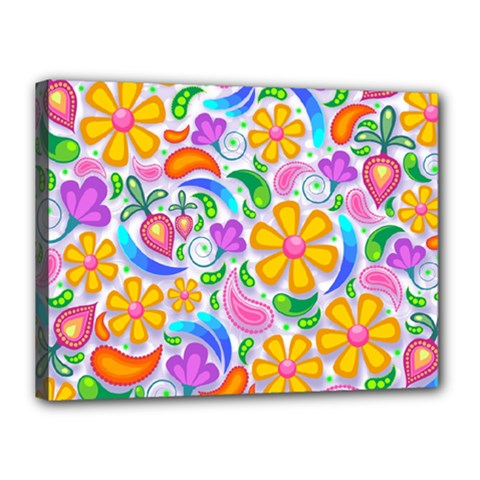 Floral Paisley Background Flower Canvas 16  X 12  by Nexatart