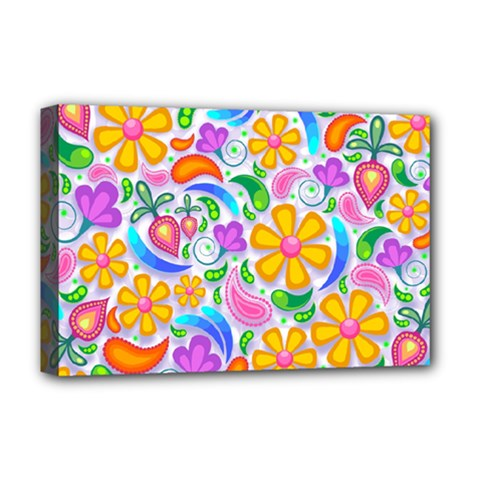 Floral Paisley Background Flower Deluxe Canvas 18  X 12