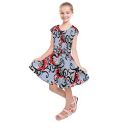 Dragon Pattern Kids  Short Sleeve Dress by Nexatart