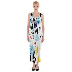 Abstraction Fitted Maxi Dress by Valentinaart