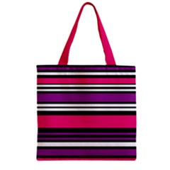 Stripes Colorful Background Zipper Grocery Tote Bag