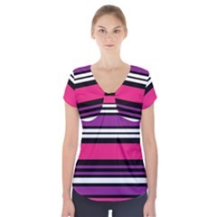 Stripes Colorful Background Short Sleeve Front Detail Top