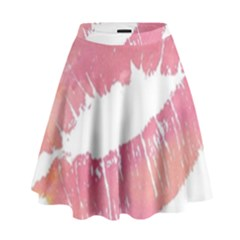 Pink Lips High Waist Skirt by Brittlevirginclothing