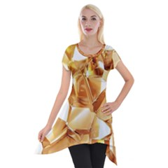 Golden Crystals Short Sleeve Side Drop Tunic by Brittlevirginclothing
