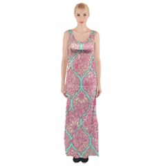 Moroccan Flower Mosaic Maxi Thigh Split Dress by Brittlevirginclothing