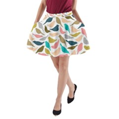 Colorful Birds A Line Pocket Skirt by Brittlevirginclothing