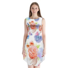 Watercolor colorful roses Sleeveless Chiffon Dress   by Brittlevirginclothing