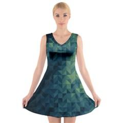 Gradiant Blue V Neck Sleeveless Skater Dress by Brittlevirginclothing