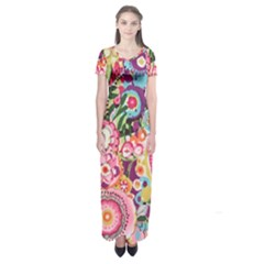 Colorful Flower Pattern Short Sleeve Maxi Dress
