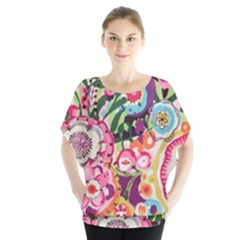 Colorful Flower Pattern Blouse by Brittlevirginclothing