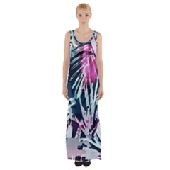 Colorful Palm Pattern Maxi Thigh Split Dress by Brittlevirginclothing