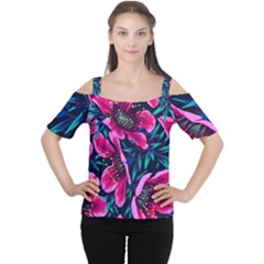 Purple Flowers Women s Cutout Shoulder Tee by Brittlevirginclothing