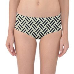 Woven2 Black Marble & Beige Linen (r) Mid Waist Bikini Bottoms by trendistuff