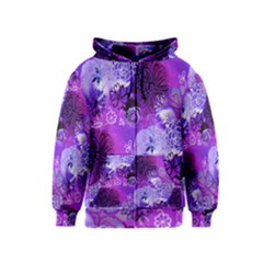 Urban Purple Flowers Kids  Zipper Hoodie by KirstenStar