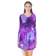 Urban Purple Flowers Flare Dress by KirstenStar