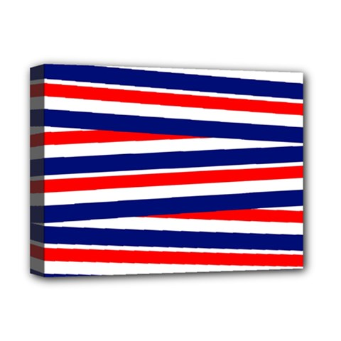 Red White Blue Patriotic Ribbons Deluxe Canvas 16  X 12   by Nexatart