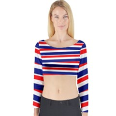 Red White Blue Patriotic Ribbons Long Sleeve Crop Top by Nexatart