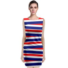 Red White Blue Patriotic Ribbons Classic Sleeveless Midi Dress