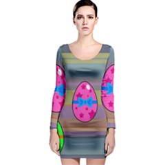 Holidays Occasions Easter Eggs Long Sleeve Bodycon Dress