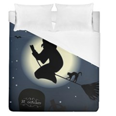 Halloween Card With Witch Vector Clipart Duvet Cover (queen Size) by Nexatart