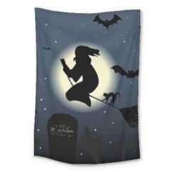 Halloween Card With Witch Vector Clipart Large Tapestry by Nexatart