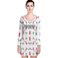 Reindeer Pattern Long Sleeve Velvet Bodycon Dress