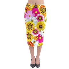 Flowers Blossom Bloom Nature Plant Midi Pencil Skirt by Nexatart
